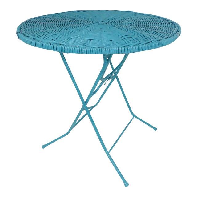Vintage Teal Folding Wicker Tilt Top Table - Image 1 of 9