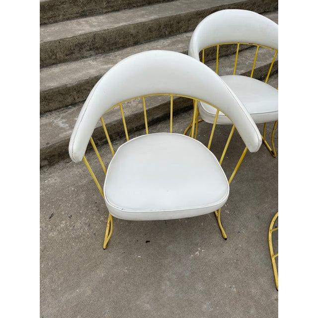 Mid Century Iron & Vinyl Patio Chairs - Set/4 For Sale - Image 4 of 8