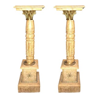 Mid 20th Century Antique Marble with Bronze Mount Pedestal Columns - a Pair For Sale