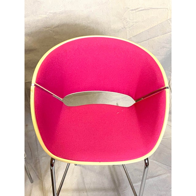 2000 - 2009 Set of 4 Heavy Duty Chic Pink Fabric Bar Counter Stools Wood Back For Sale - Image 5 of 9
