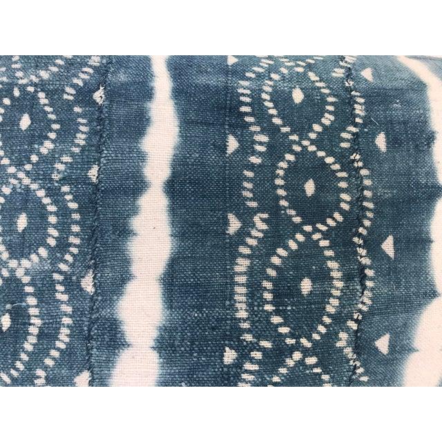 African Indigo Faded Tye-Dye Fringe Pillows - A Pair - Image 5 of 10