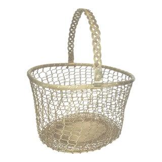 1960s Vintage Woven Brass Magazine Basket For Sale