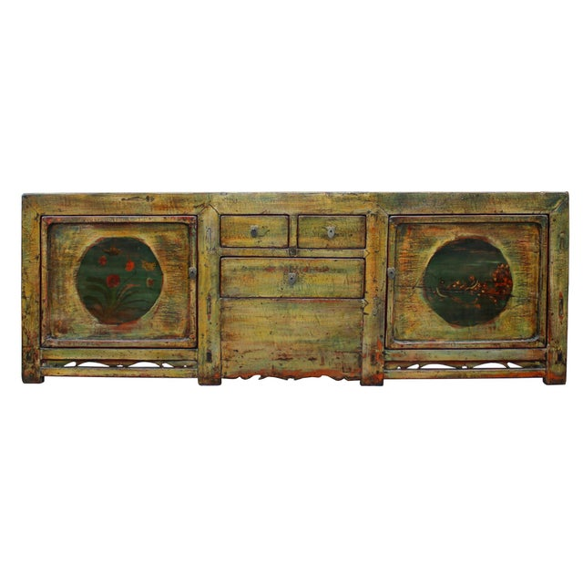 Chinese Distressed Green Brown Oriental Flower Graphic Tv Console Cabinet For Sale - Image 4 of 10