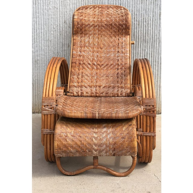 Wood 20th Century Adjustable Bentwood and Rattan Chaise Longue With Ottoman For Sale - Image 7 of 12