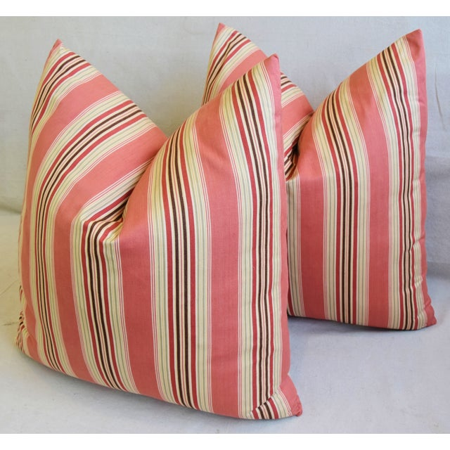 "Orange French Multi Coral Striped Ticking Feather/Down Pillows 23"" Square - Pair For Sale - Image 8 of 11"