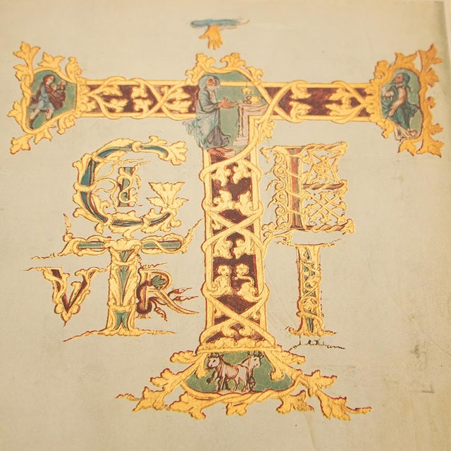 1940s 1949 Letter T From Dragon's Sacramentary, First Edition Vintage Gold Ink Lithograph For Sale - Image 5 of 9
