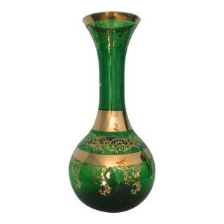 Venetian Bohemian Style Emerald Green Glass Vase For Sale