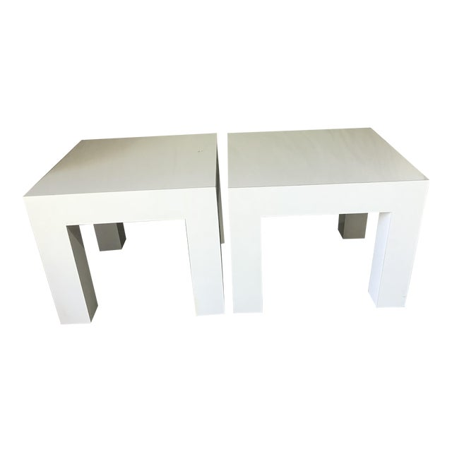 Vintage Mod White Laminate Parsons Tables - a Pair - Image 1 of 5
