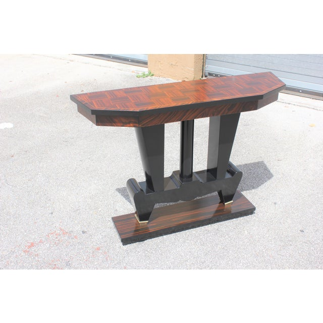 1940s French Art Deco Macassar Ebony Console Table For Sale - Image 13 of 13