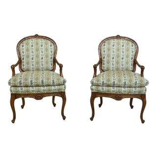 Pair French Louis XV Style Upholstered Open Armchairs For Sale
