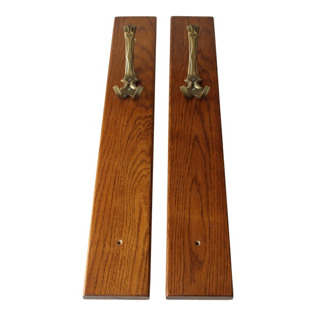 1970s Solid Brass Coat Hooks on a Solid Wooden Wall Brackets - Set of 2 For Sale