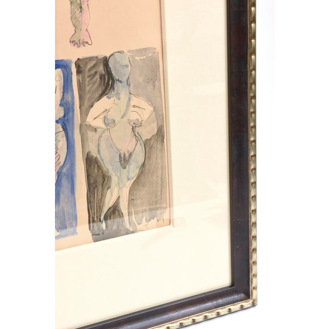 Signed Chamberlin Vintage One of Kind Nude/Abstract/ Figure Watercolor Custom Framed - Image 7 of 9