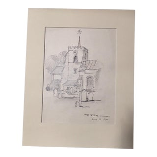 1920s Vintage Walter E. Church English Landscape Pencil Drawing - Pirton, England For Sale