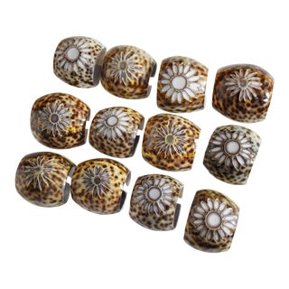 Hand Cut Natural Cowry Shell Napkin Ring Holder in Wooden Box - Set of 12 For Sale