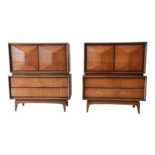 Mid-Century Modern Walnut Diamond Front Highboy Dressers by United For Sale