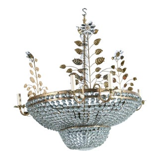 1930s French Crystal Chandeliers (Pair Available) For Sale