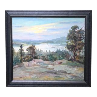 1930s Vintage Mariehamn, Finland Impressionist Landscape Painting For Sale