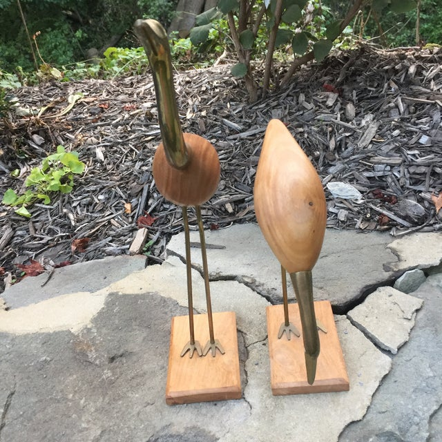 Brass & Wood Crane Figurines - A Pair For Sale - Image 9 of 11