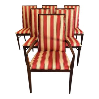 Striped Mahogany Dining Chairs - Set of 6 For Sale