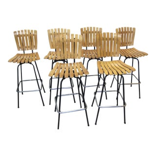 Mid-Century Arthur Umanoff Bar Stools - Set of 6 For Sale