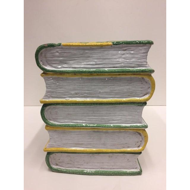 Tromp l'Oeil Stack of Books Glazed Terracotta Italian Side Table Garden Seat For Sale - Image 4 of 10