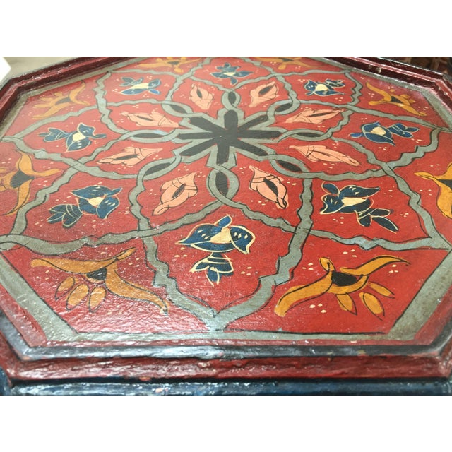 Pair of Hand-Painted Moroccan Pedestal Octagonal Shape Table With Moorish Arches For Sale - Image 4 of 13
