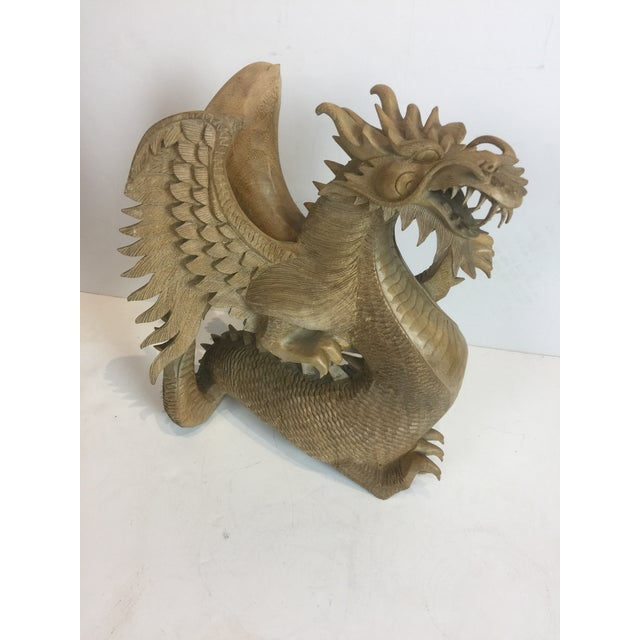 Brown Rare Magnificent Vintage-Carved Wooden Dragon Figurine For Sale - Image 8 of 13