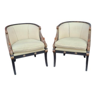 Pair Vintage Regency Style Carved Swan Upholstered Tub Armchairs C1950s For Sale