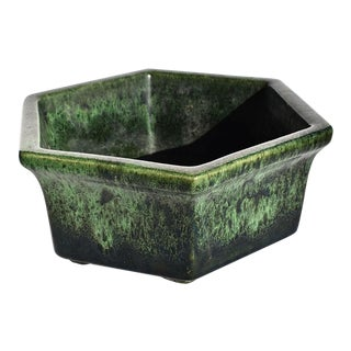 Mid-Century Modern Green and Black Geometric Ombré Octagonal Planter by Haeger For Sale