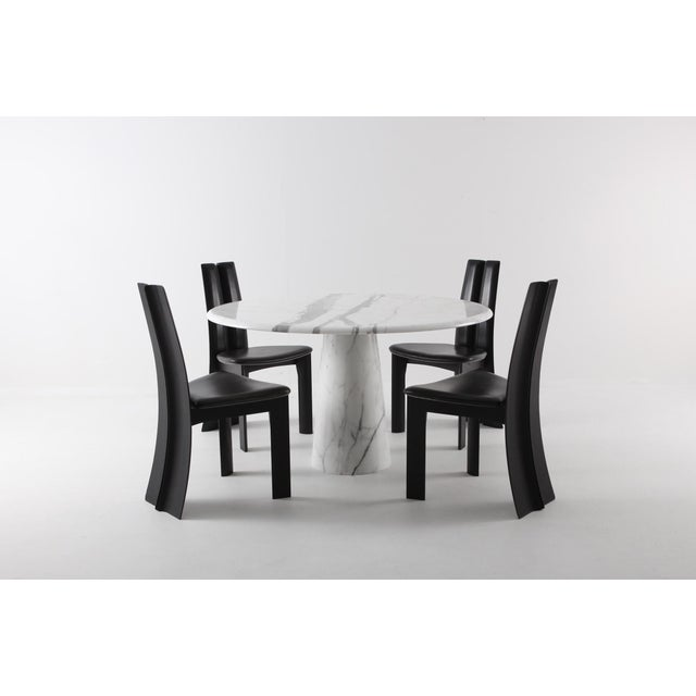 Midcentury Round Italian Carrara Marble Dining Table For Sale - Image 12 of 13