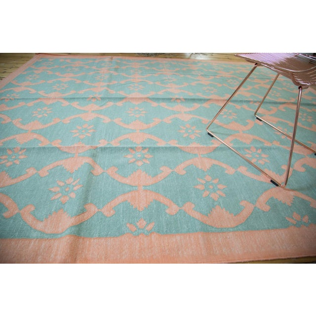 "New Blue Floral Dhurrie Carpet - 8'1"" X 9'9"" - Image 3 of 7"