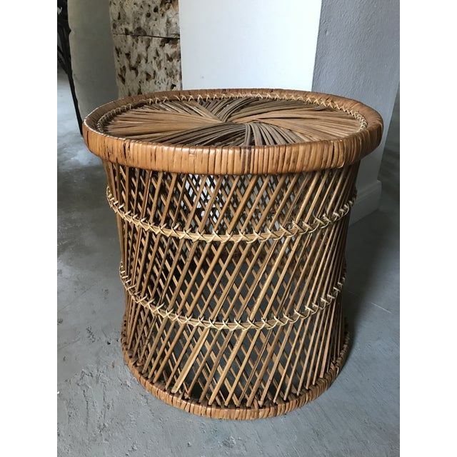 Boho Chic Vintage Rattan Woven Drum Footstool For Sale - Image 3 of 3