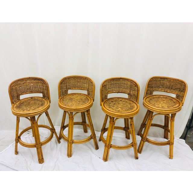 Mid 19th Century Set Vintage Bamboo & Wicker Stools For Sale - Image 5 of 11