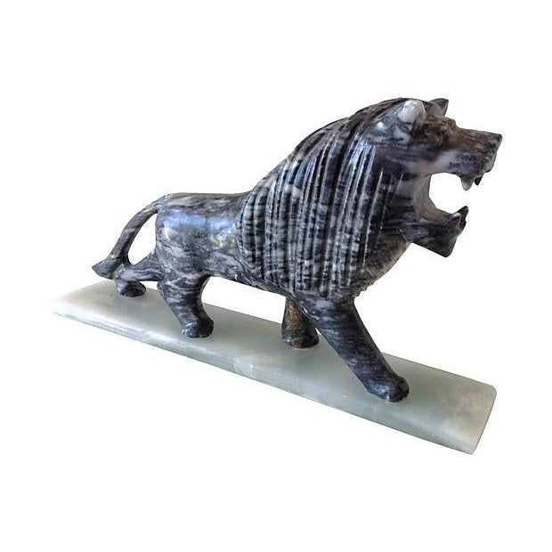 1970's Marble Carved Lion For Sale - Image 4 of 5