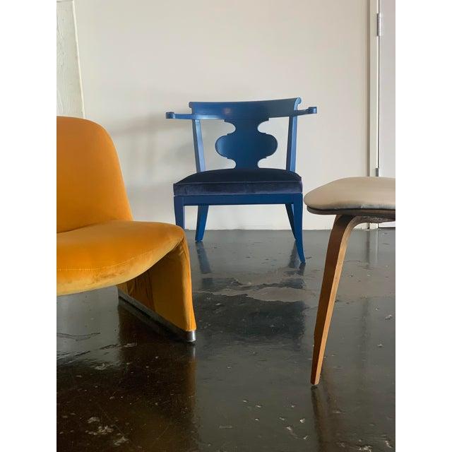 "1970s Giancarlo Piretti ""Alky"" Chair in Goldenrod Velvet For Sale - Image 9 of 12"