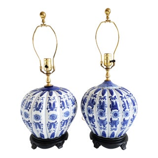 Vintage Chinese Blue & White Ginger Jar Table Lamps-A Pair For Sale