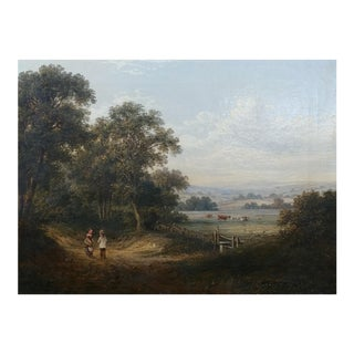 19th Century English School Pastoral Landscape Oil Painting