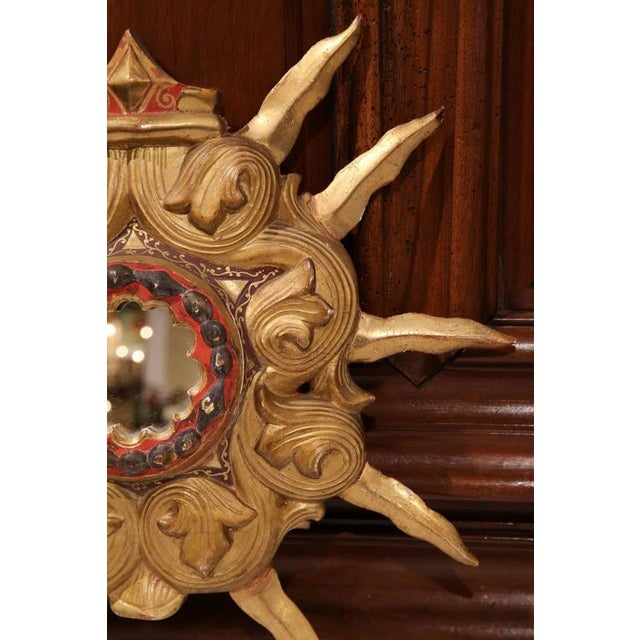 Early 20th Century French Polychrome & Gilt Carved Sunburst Mirror For Sale - Image 4 of 6