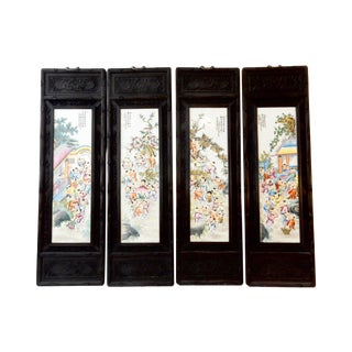 Famille Rose Panels, Playing Boys - Set of 4 For Sale