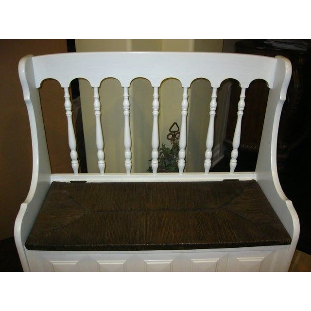 Tall-Back White Cottage Rush Seat Bench - Image 6 of 10