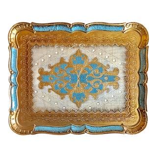Italian Florentine Gold Gild & Blue Tray For Sale
