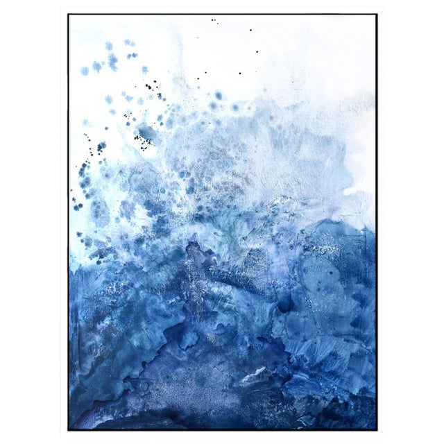 Watercolor Blue Salt Painting - 40 52 For Sale