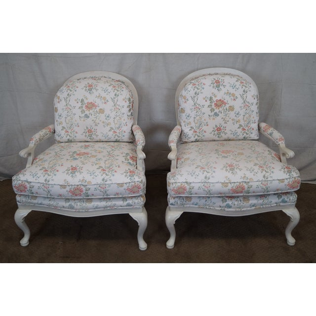Large French Style Paint Frame Lounge Chair - Pair - Image 2 of 10