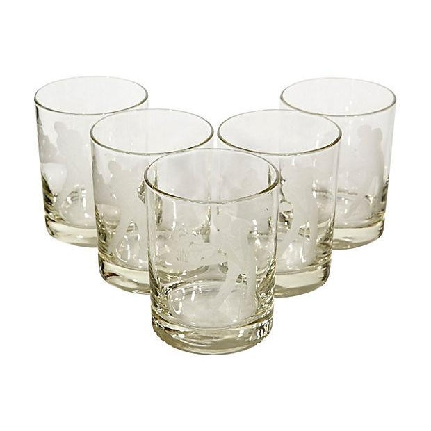 Vintage Etched Golf Glass Tumblers - Set of 5 - Image 2 of 3