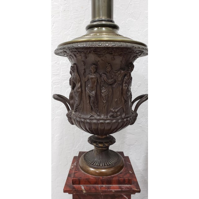Pair of Vintage Classical Roman Bronze Urns & Marble Table Lamps A remarkable pair of vintage bronze and marble table...
