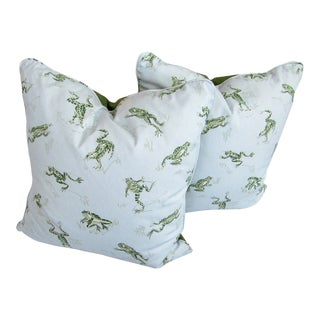 Custom Made Frog Print Pillows - A Pair For Sale