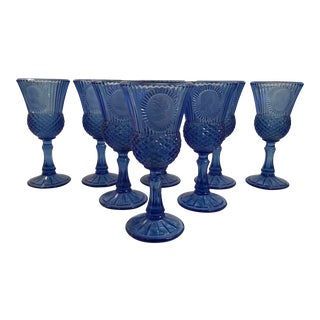 Vintage Blue George and Martha Collectible Wine Glasses - Set of 8 For Sale