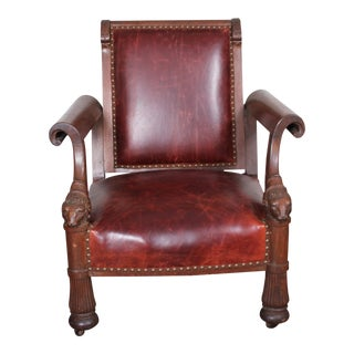 19th Century Mahogany Rams Head Leather Club Chair