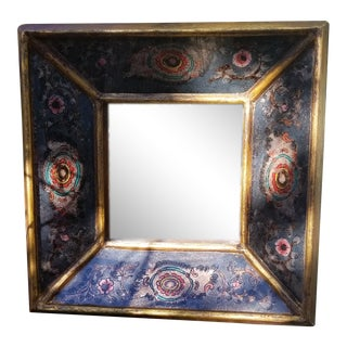 Vintage Mid-Century Square Mirror With Reverse Painted Glass Frame For Sale