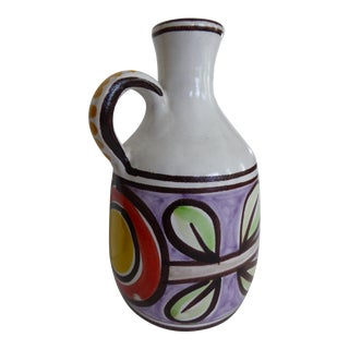 Large Desimone Hand Painted Pitcher Jug For Sale